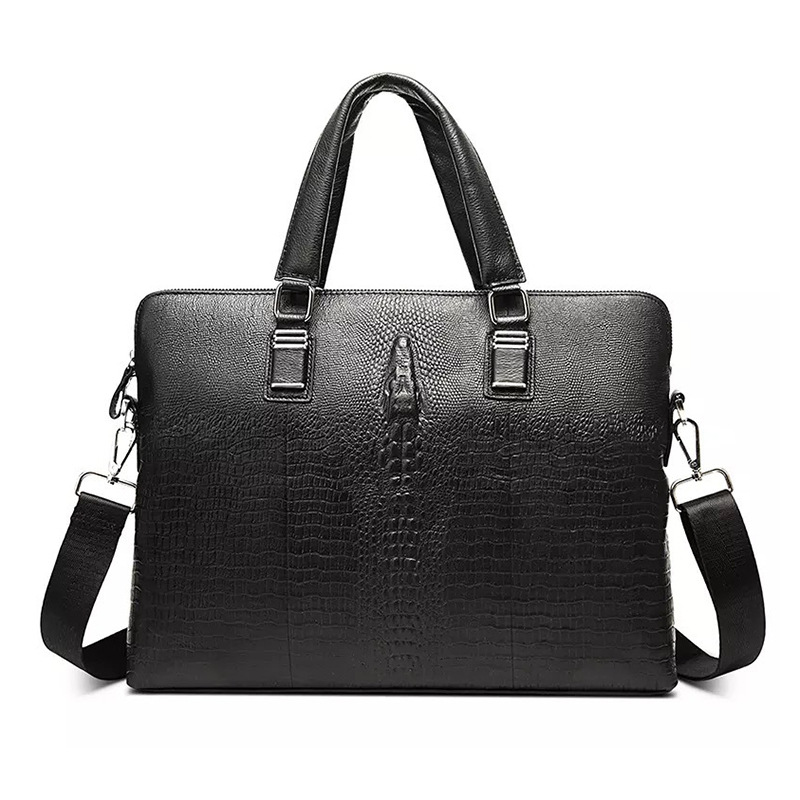 Nesitu Black Alligator Pattern Genuine Leather 14'' Laptop Men Briefcase Messenger Bag Male Office Portfolio Shoulder Bag M1906