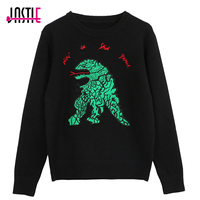 Jastie Embroidered Alphabet Green Cartoon Crocodile Knit Sweater Pullover Women Winter Sweaters Casual Jumper Top Stripe