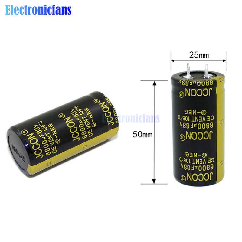 Diymore 63V 6800uF 25X50mm Aluminum Electrolytic Capacitor High Frequency Low ESR 63V6800uF 25*50mm Through Hole Capacitor