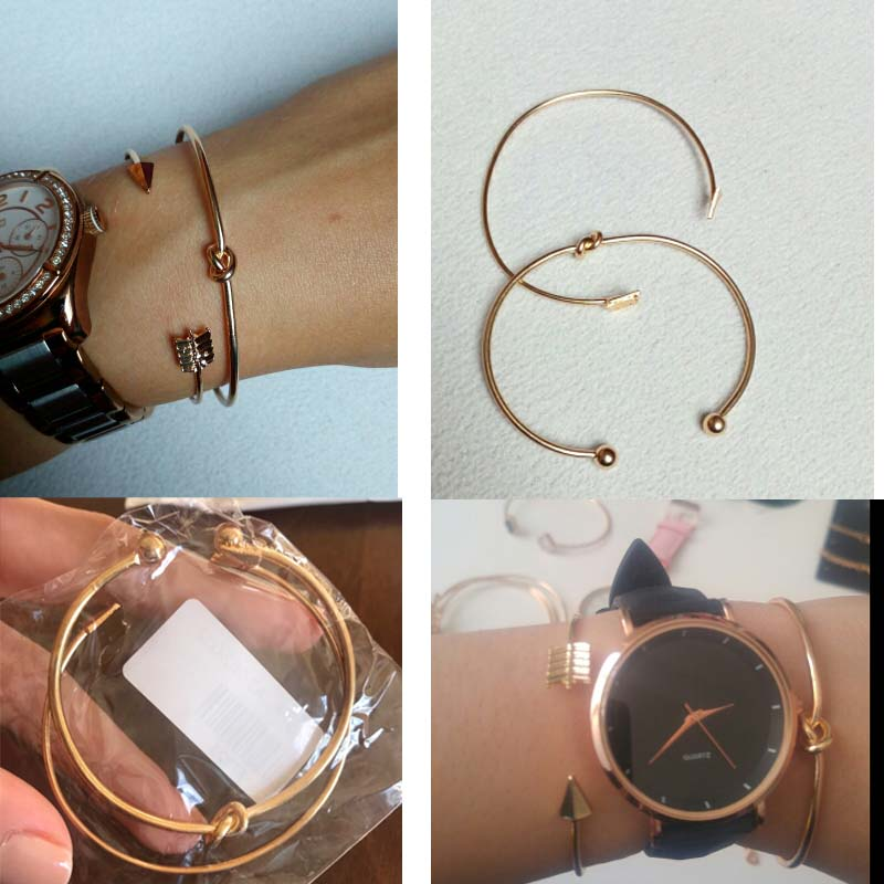 2PCS/SET Vintage Cuff Bracelet Bangles for Women Brief Gold Color Open Arrow Knotted Charms Bracelet Jewelry valentines Gift