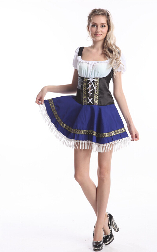 free shipping Oktoberfest beer maid costume Heidi ale girl waitress outfit S,M,L,XL,2XL,3XL, 4XL,5XL IN STOCK