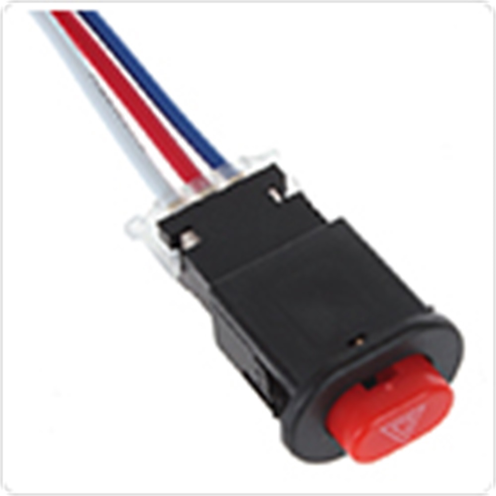 3 Wires Built-in Lock Mini Switch Motorcycle Double Flash Dangerous Signal Lamp