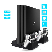 For Sony PS4/ PS4 Slim/PS4 PRO host PS4 handle Vertical Stand with Cooling Fan Cooler Dual Controller Charger Charging station цена