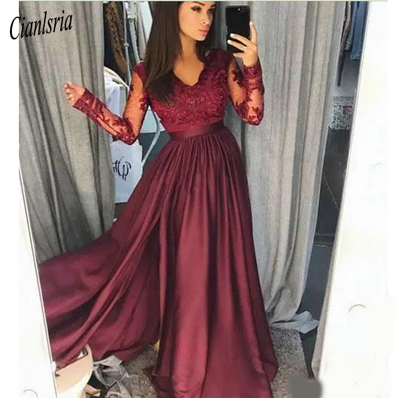 Burgundy V Neck   Prom     Dresses   Long Party Evening Wear Applique Stain A Line   Prom     Dress   Long Zipper Back Formal Party Gowns