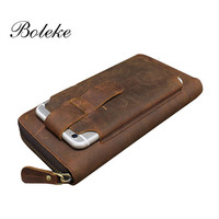 Brand Men Crazy Horse Genuine Leather Wallet Handmade Leather Long Vintage 6 Inch Phone Pouch Casual