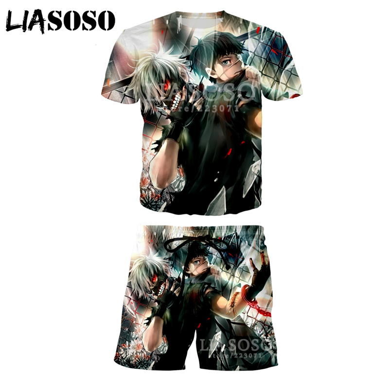 LIASOSO Summer Fashion Men Women 3D Print Anime Tokyo Ghoul Short sleeve T shirt Set Casual Unisex Sweatshirt Sportswear A067 27