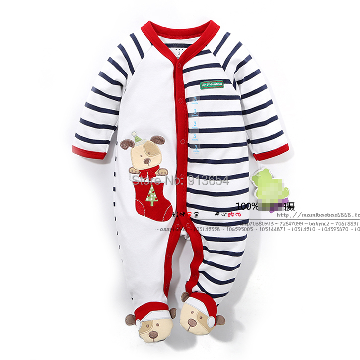 new 2017 spring autumn baby clothes newborn Long sleeve rompers baby boys striped cartoon Christmas bear jumpsuits baby wear cotton baby rompers set newborn clothes baby clothing boys girls cartoon jumpsuits long sleeve overalls coveralls autumn winter
