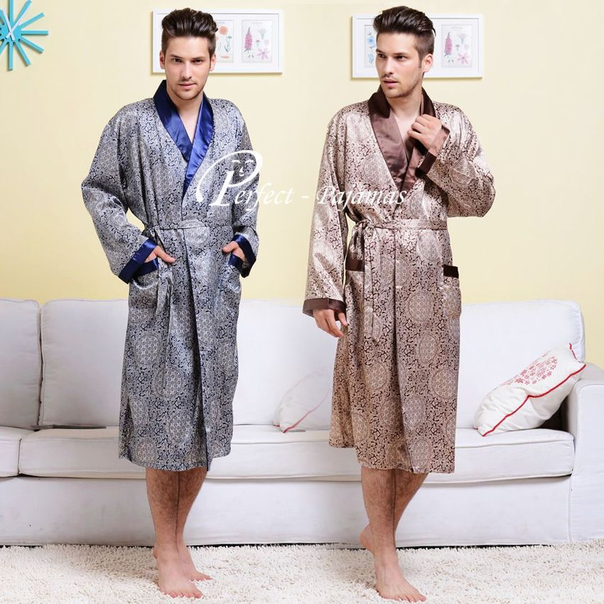 Mens Silk Satin Pajamas Set  Pajama Pyjamas PJS Sleepwear  Robe  Nightgown  U.S.S  M  L XL 2XL 3XL