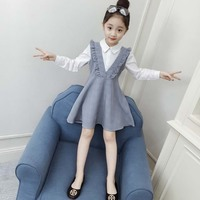 Girls Dress Autumn Long Sleeve Dresses For Girls Print Kids Clothes Teenage Grey Clothing For Girls 6 8 10 12 13 Years