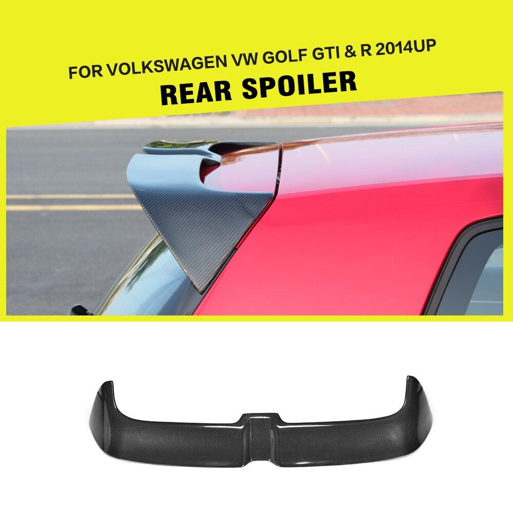 คาร์บอนไฟเบอร์/FRP ด้านหลังหลังคาสปอยเลอร์หน้าต่าง Wing Lip สำหรับโฟล์คสวาเก้น VW Golf 7 7.5 VII MK7 7.5 GTI R Hatchblack 2014-2019
