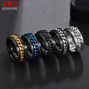 Auxauxme Titanium Stainless Steel Chain Spinner Ring For Men Blue Gold Black Punk Rock Rings Accessories Jewelry Gift(China)