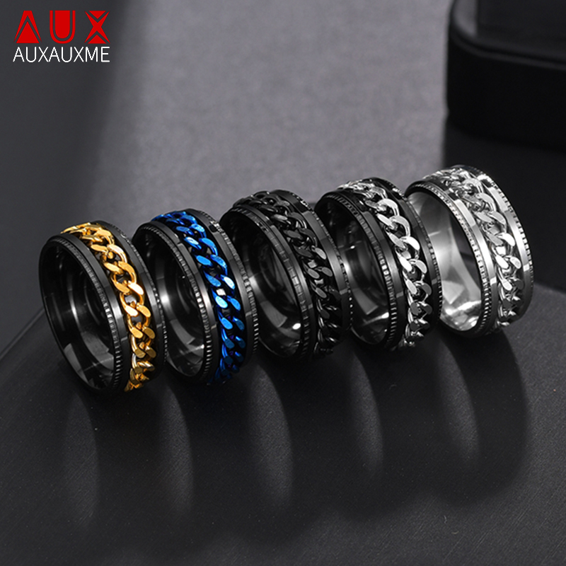 Auxauxme Titanium Stainless Steel Chain Spinner Ring For Men Blue Gold Black Punk Rock Rings Accessories Jewelry Gift