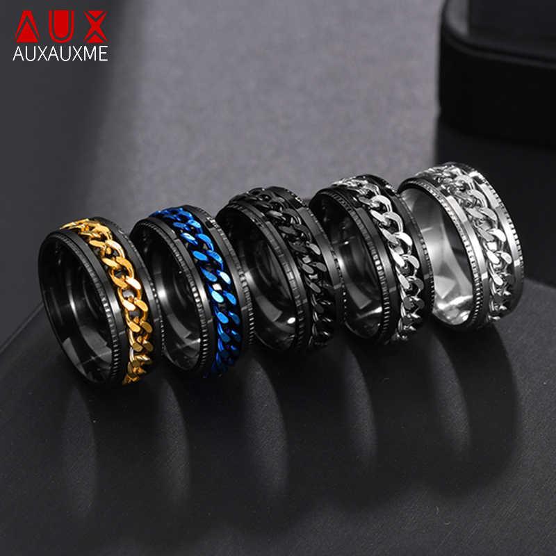 Auxauxme tytanowa stal nierdzewna łańcuch Spinner pierścień dla mężczyzn niebieski złoty czarny Punk Rock pierścienie akcesoria biżuteria prezent