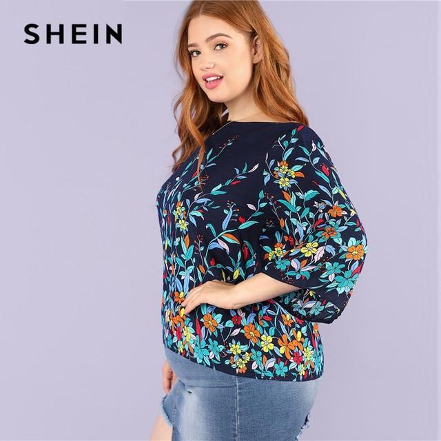 SHEIN Floral Print Navy Plus Size Round Neck Casual Women Blouse 2018 New Three Quarter Sleeve Botanical Print Rayon Blouses 2