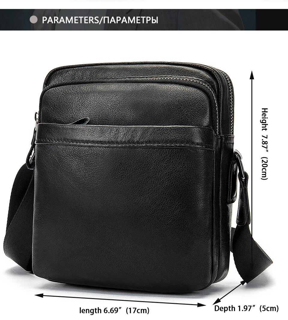 Men's Shoulder Bag for Men Crossbody Bags Genuine Leather Flap Small Male Bussiness Handbags with Zipper Messenger Bag 2