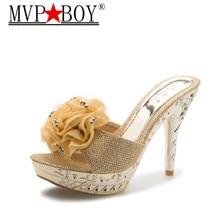 Mvp Boy New Korean Princess High Heels Glitter S Women Brief Design Open Toe Sexy Thin Slippers Platform Shoes