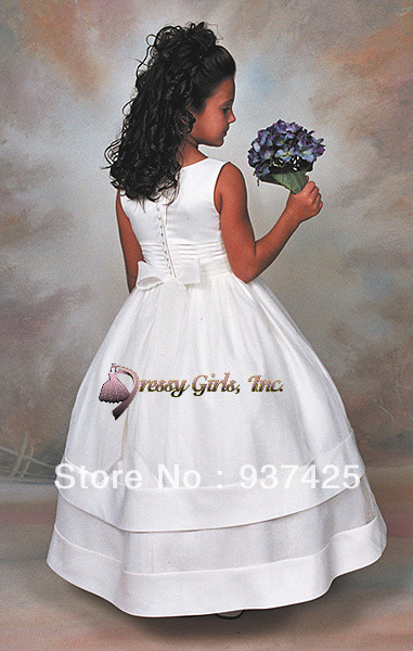 satin ball gown flower girls pageant dresses tank bow sash ...