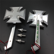 Aftermarket free shipping motorcycle parts  LED Turn signal Maltese Cross style mirrors fit for   Springer Chrome