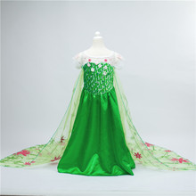 2016 Fever Elsa Anna Dress Girl Clothes halloween Princess Dress children Party Vestido Dress kid Green
