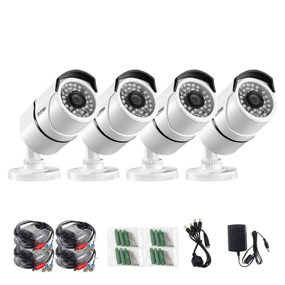 4 pçs/lote 1080 p HD-TVI ZOSI CCTV Câmeras de Segurança, 100ft Night Vision, Whetherproof Câmera de Vigilância Ao Ar Livre Kit