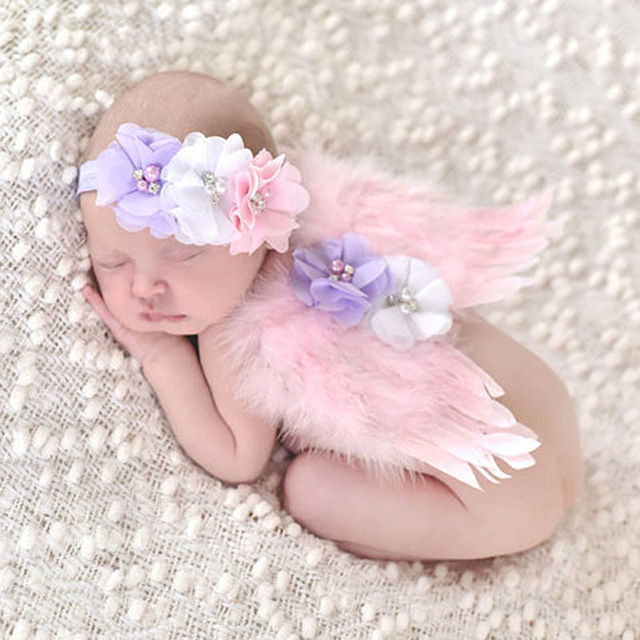 Newborn Baby Girl Headwear White Feather Angel Wing +Rhinestone Headband Photography Prop Costume