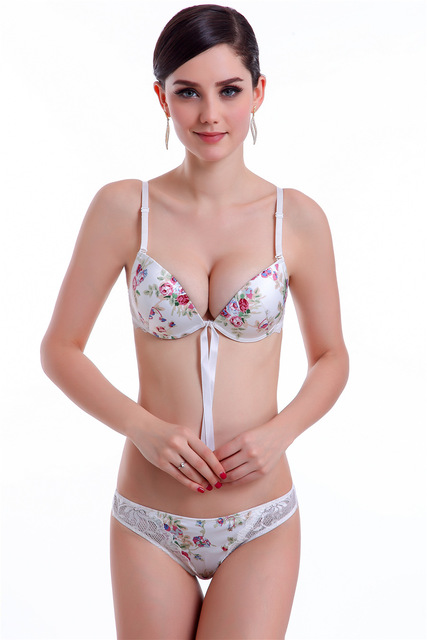 0a628e243cd 2017 Push Up Sexy Bra Panties Set Women Bra Set Female Flower Print Lace  Set Bra and Panties