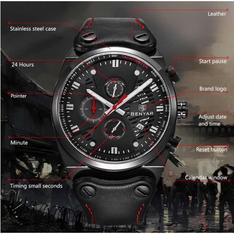 BENYAR Sports Watch Men 39 s Top Brand Luxury Chronograph Men Quartz Men 39 s Waterproof Multifution Leather Military Men 39 s Watch in Quartz Watches from Watches
