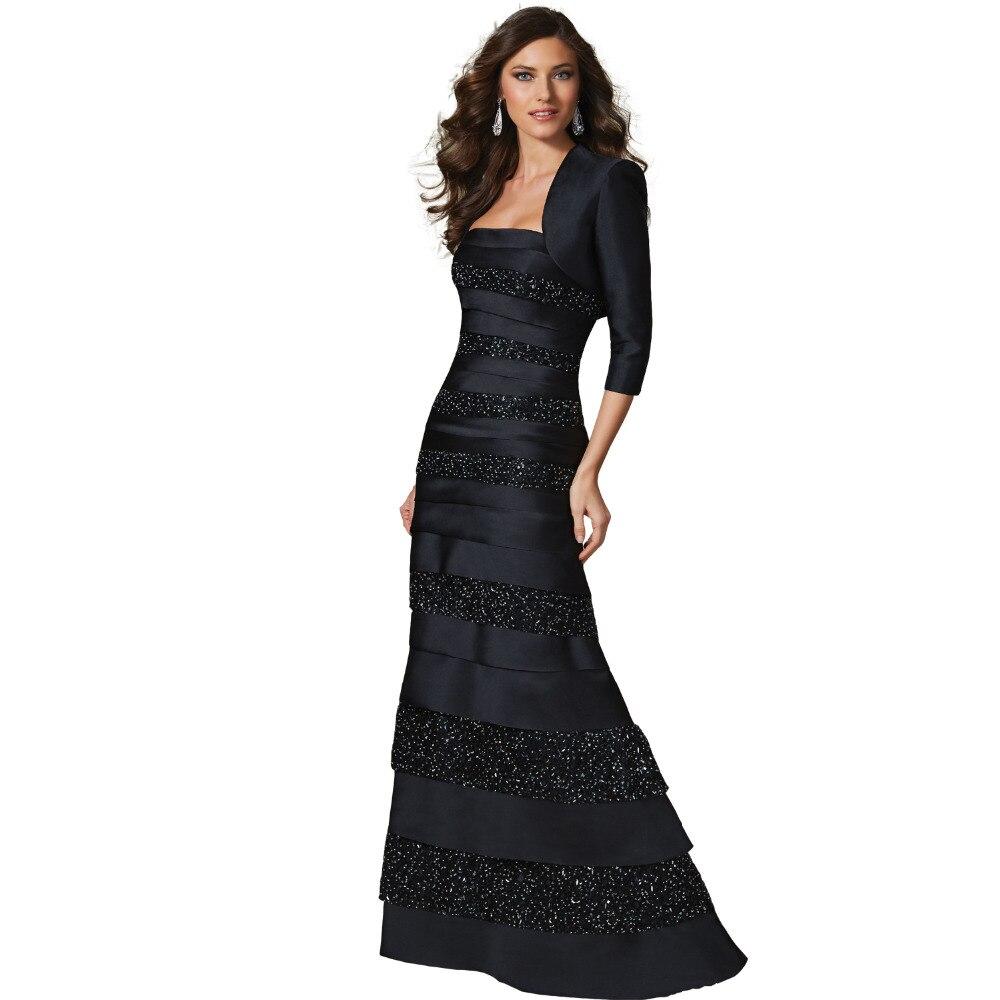 Elegant Black Satin Evening Dress with Lace