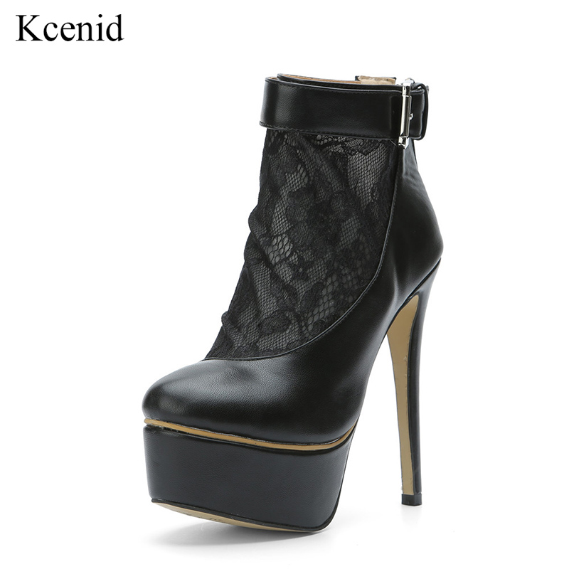 Kcenid 2019 Bottes Bout Boucle Sexy Rond Plate Dentelle Femmes Mode Femme Bootie Noir Sangle Talons Cheville forme Chaussures deErCWQxBo
