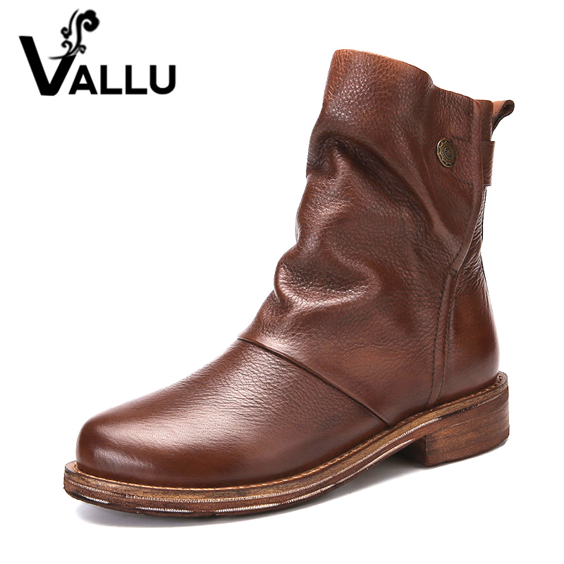 VALLU 2019 Handmade Women Shoes Ankle Boots Genuine Leather Pleated Round Toes Low Heels Original Natural