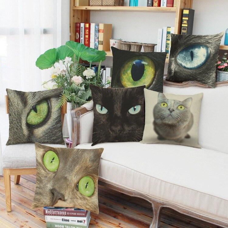 En gros sauvage chat 3D numérique impression linge coussin/Animal canapé chaise siège coussin oreillers décoratifs pour La Maison/no fill18x18inch