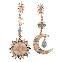 Fashion Bohimina Styles Women Rhinestone Sun Moon Star Drop Earrings Gold Plated Crystal Rhinestone Sun Moon Dangle Earrings недорого