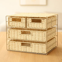 Enclosed Eco Multilayer Weave Storage Box Frame Drawer Type Desktop Storage Box Miscellaneous Storage Box