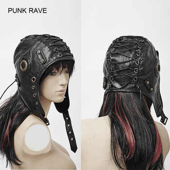 Punk Rave Fashion Leather Black Cosplay Caps Hats Steampunk Military Cool S163 - DISCOUNT ITEM  5% OFF All Category