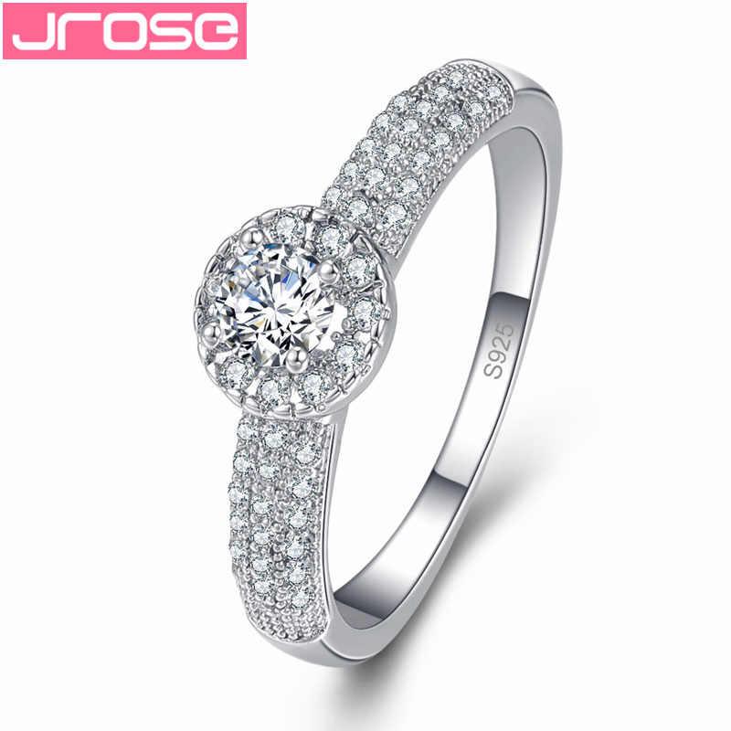 JROSE งานแต่งงานแหวนหมั้นสีขาว Rainbow Cubic Zirconia แฟชั่นแหวนเงินขนาด 6 7 8 9 ลึกลับเครื่องประดับของขวัญ