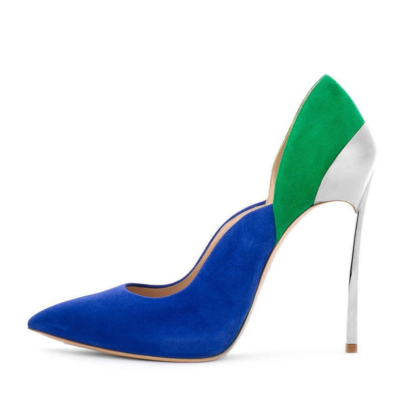 Hot Fashion Women High Heel Pumps Color-blocked Pointed Toe Metal Heels Shoes Sexy Shallow Spring Office Shoes allbitefo full genuine pointed toe high heels women pumps fashion sexy buckle thick heel office shoes spring high heel shoes