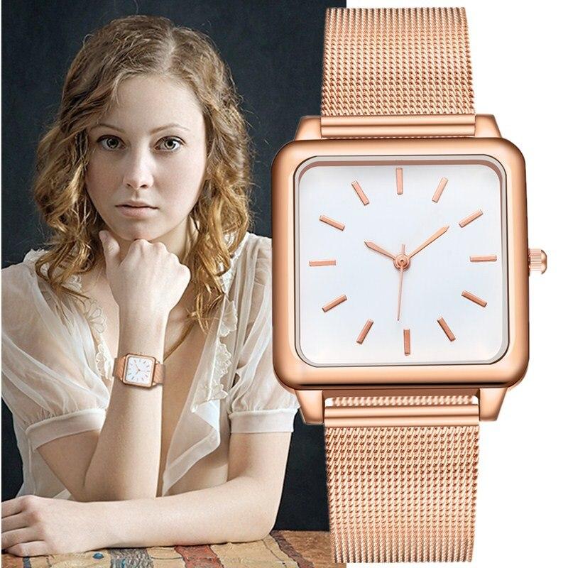 Women Watches Fashion Trend Simple Square Rose Gold Stainless Steel Mesh Female Women Quartz Wristwatches Reloj Relogio Feminino