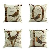 Enipate 4 cái/bộ Bắc Âu Retro Cushion Cover Tình Yêu Chim In Linen Gối Bìa Eo Pad Sofa Xe Ném Pillowcase 45 cm * 45 cm