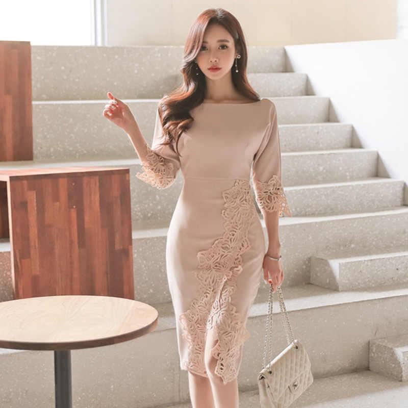 9e3bb287f Lace Batwing Sleeve Tunic Package Hip Split Pencil Dress Women Elegant  Korean Sexy Office Party Fashion