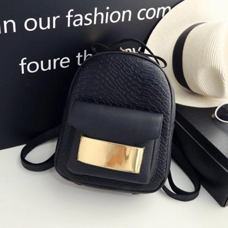 2018 Golden Snakeskin Design Women's Backpacks Serpentine Women Fashion Backpack European Style Bags for girls Ladies Travel Bag