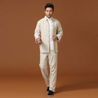 Black New Handmade Chinese Men S Linen Jacket Trousers Suit Kung Fu Sets Size S M