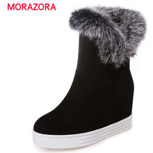 MORAZORA 2018 new comfortable short plush round toe ankle boots fashion high heel height increasing women boots platform boots(China)