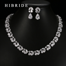 HIBRIDE Jewelry Top Quality Rhodium Color Weddings Party Jewelry Sets,Leaf Shape AAA Cubic Zircon Earrings Necklace Sets S-24