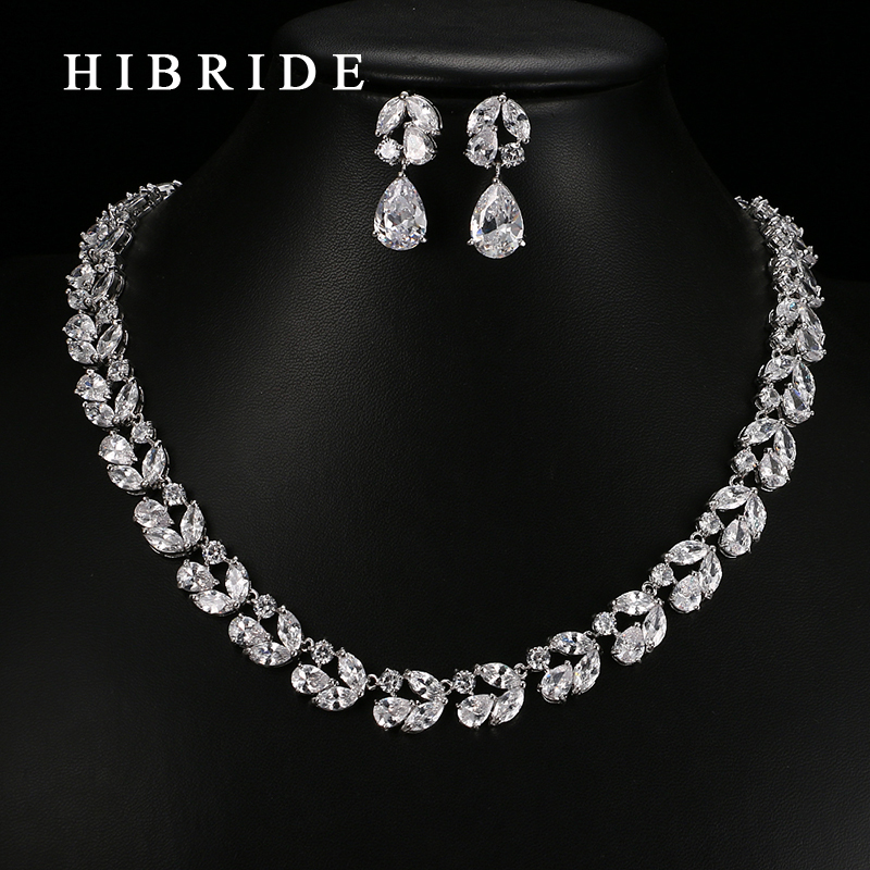HIBRIDE Jewelry Top Quality Rhodium Color Weddings Party Jewelry Sets,Leaf Shape AAA Cubic Zircon Earrings Necklace Sets S-24HIBRIDE Jewelry Top Quality Rhodium Color Weddings Party Jewelry Sets,Leaf Shape AAA Cubic Zircon Earrings Necklace Sets S-24