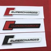 레드 실버 블랙 SUPERCHARGED 다이아몬드 바 엠 블 럼 배지 자동차 스타일링 트렁크 & 펜더 사이드 로고 스티커 아우디 A4 A5 A6L Q3 Q5 Q7