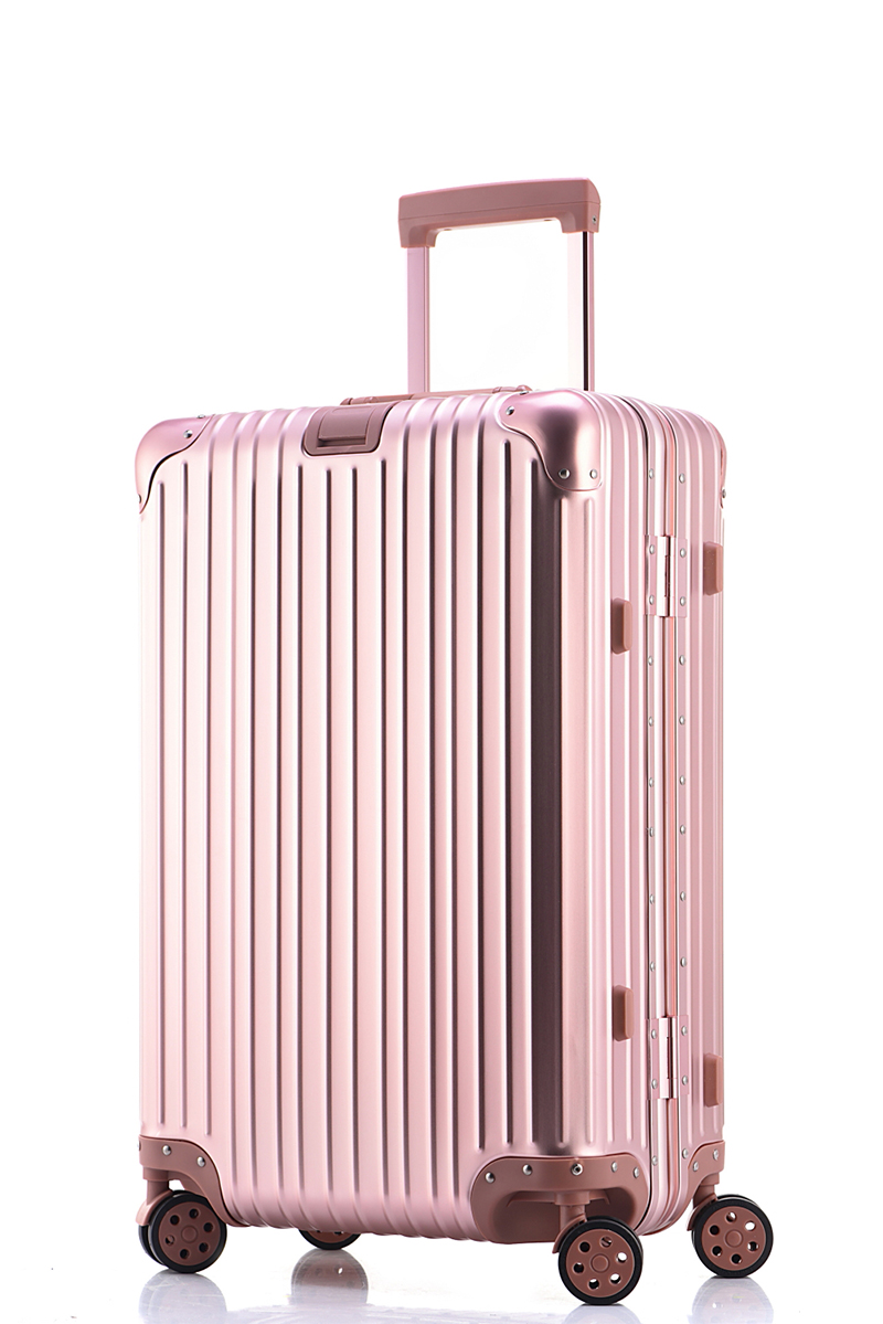 Free shipping 100% aluminium magnesium alloy luggage Universal wheel lockbox metal box Men and women on board boxes pink