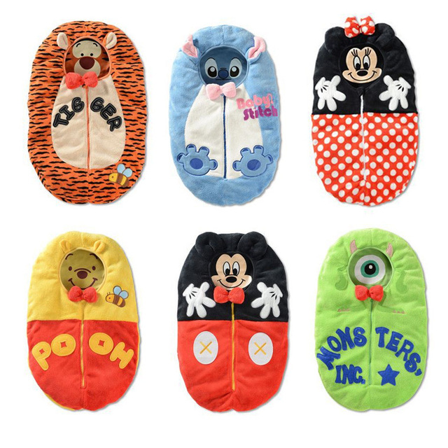 Baby Winter Sleeping Sack Coral Fleece Infant Swaddle Blankets Bed Warm Wrap Baby Sleep Bag Cartoon Tiger Minnie Stich Envelope