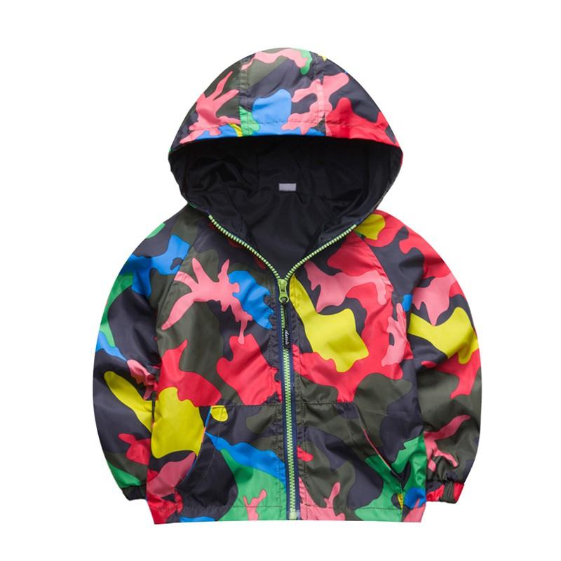 80-140cm Camouflage Spring Outerwear Children Hooded Jacket For Boys Kids Girls Trench Coat Hooded Windbreaker Sport Suit (13)