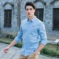 Pioneer Camp 2017 Весной новые модные мужские рубашки синий тонкий 100% хлопок с длинным рукавом работа рубашка вскользь imported clothing 666205
