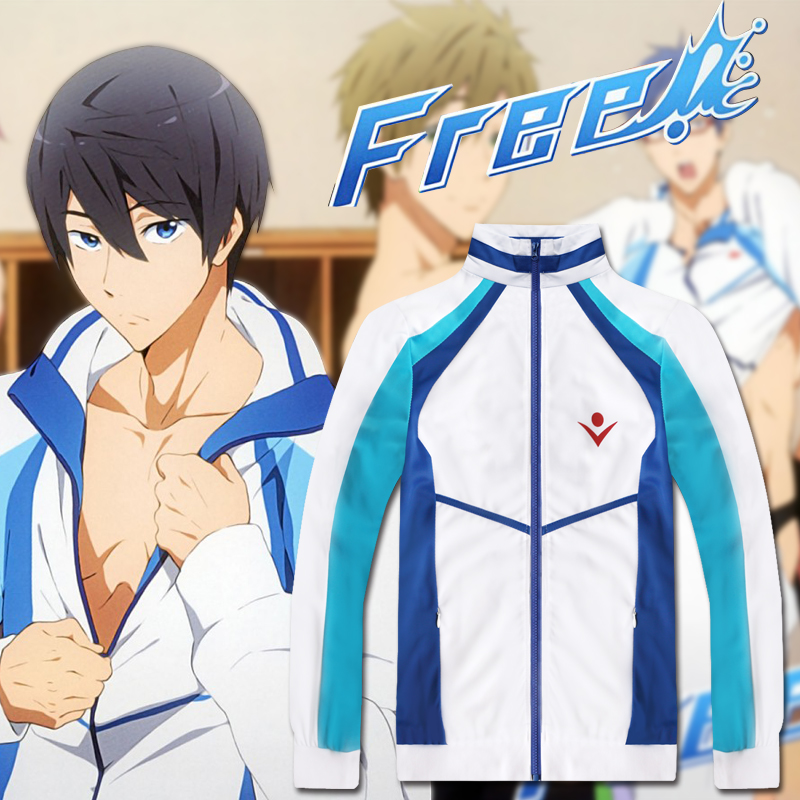 Anime Free! Cosplay Iwatobi Swim Club Cosplay Costume Haruka Nanase Jacket Coat Hoodies Unisex High School Sportswear